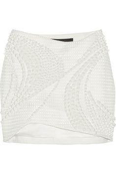Jay AhrEmbellished mesh mini skirt