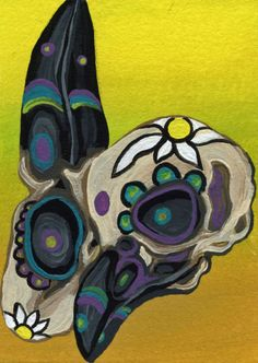 Sugar Skulls Pair Original art Day of the Dead Raven Bird ACEO ATC-Carla Smale #Miniature