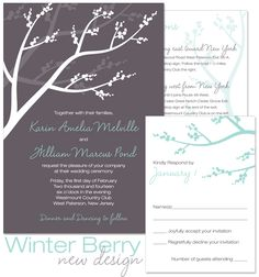 Winter Berry Invitation, Reply and Accessory from The Green Kangaroo