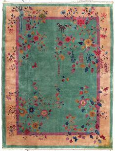 Chinese Art Deco Wool Pile Rug circa 1920