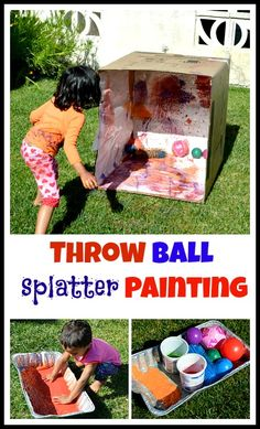 Active way to paint a box. Great outdoor activity for the summer.