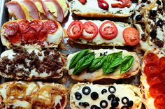French Bread Pizzas by Ree Drummond / The Pioneer Woman, ~T~ Lots of good ideas for individual toppings and sauces. Everyone can make their own. I love pesto and caramelized onions.
