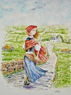 Watercolor of a Shepherdess in an irish landscape. See more at my blog: http://artistadron.blogspot.com/