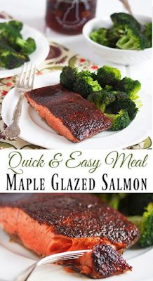 Maple Glazed Salmon - FOODS RECIPE Salmon Recipes, Fish Recipes, Seafood Recipes, Vegetarian Recipes, Cooking Recipes, Healthy Recipes, Easy Dinner Recipes, Easy Meals, Chili