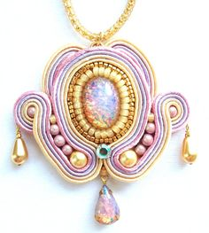 Opal Necklace  Embroidered Jewelry  Soutache  by PureBlissJewelry