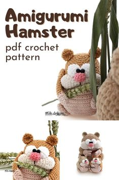 Fun and cartoonish little amigurumi hamster crochet pattern. Also bears some resemblance to a squirrel or chipmunk crochet pattern. Love this sweet little crocheted forest creature. Crochet Stitches Free, Knitting Charts, Crochet Chart, Knitting Patterns Free, Crochet Teddy Bear Pattern, Crochet Doll Pattern, Crochet Toys, Crochet Patterns, Funny Crochet