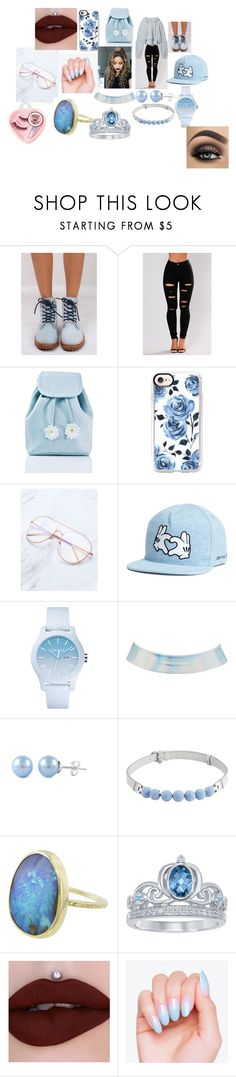 """""""How to wear Baby Boy Blue"""" by jaywoke ❤ liked on Polyvore featuring Timberland, Sugarbaby, Casetify, Lacoste, Charlotte Russe, Henri Bendel, Disney and Medusa's Makeup"""