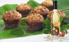 Banana Macadamia Muffins warm from the oven with the added flavor of Oils of Aloha Hawaii's Gold Macadamia Oil
