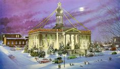 """""""Kitchener Christmas Past"""" by Lance Russwurm Antique Christmas, Christmas Past, Christmas Ideas, Waterloo Ontario, Gone Days, Canada Day, Christmas Paintings, Winter Art, Christmas Illustration"""