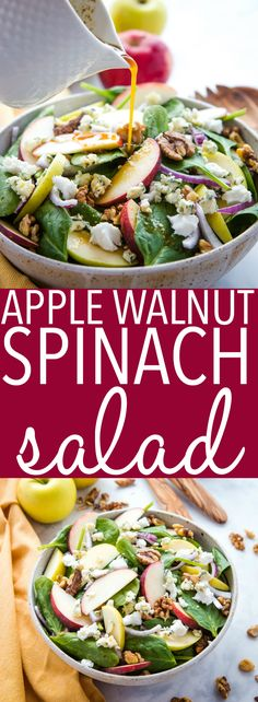 This Apple Walnut Spinach Salad with Balsamic Vinaigrette Dressing is a delicious winter salad recipe thats packed with healthy greens fruit nuts sweet onions sharp blue cheese and buttery goat cheese all topped with a sweet balsamic salad dressing Winter Salad Recipes, Best Salad Recipes, Yummy Recipes, Balsamic Salad Recipes, Spinach Salad Recipes, Spinach And Goat Cheese Salad, Salads For Lunch, Spinach Apple Salad, Easy Green Salad Recipes