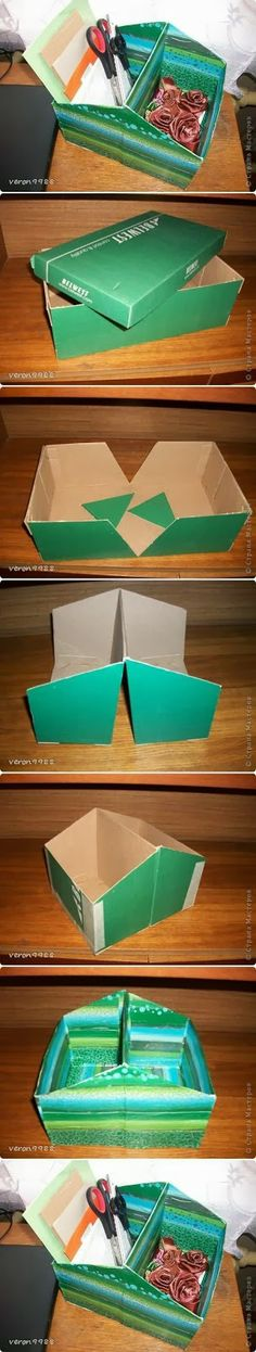 DIY shoe box organizer. perfect for all of my crafting junk!