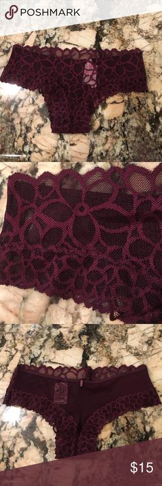 NWT Pink by Victoria Secret Panty NWT. Size XS. Wine colored lace panty. Cheeky cut. Floral lace detailing. PINK Victoria's Secret Intimates & Sleepwear Panties