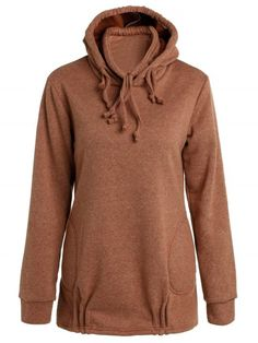 Solid Color Long Sleeve Loose Pullover Hoodie - BROWN M