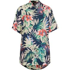 **Adelaine Shirt by Motel ($49) ❤ liked on Polyvore featuring tops, shirts, motel, multi, blue short sleeve shirt, short sleeve tops, short-sleeve shirt, short sleeve hawaiian shirt and blue shirt