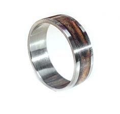 Titanium Wedding Band with Wood Inlay. Titanium and Wood Ring. Handmade by one artist. Wood shown is a maple wood. Other woods are available upon request.  Great for #FathersDayGift #GiftForHim #WeddingRing #UniqueGifts #handmade #madeinamerica #usamade www.aftcra.com