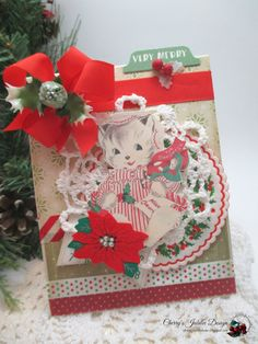 cottage christmas card-sweet kitty cat- to my daughter holiday greeting