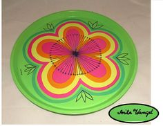 Vintage Mod Bright Lime Green Metal Serving Tray Large Flower