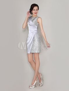 Silver Sheath Crewneck Lace Sleeveless Mother Of  The Bride Dress