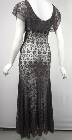 1930s Mesh Flutter Dress   From a collection of rare vintage evening dresses at http://www.1stdibs.com/fashion/clothing/evening-dresses/