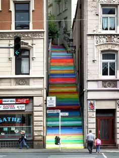 Fancy - Rainbow Holsteiner Stairs, Wuppertal Germany blog.hairshoppingmall.com www.hairshoppingmall.com
