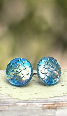 Mermaid Studs, Light Blue Dragon Scale Posts