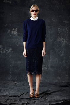 Jenni Kayne F/W 2014 lace skirt, navy crew neck sweater, sunglasses