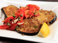 Eggplant Schnitzel and Roasted Peppers Recipe : Rachael Ray : Food Network Vegetarian Recipes Easy, Cooking Recipes, Healthy Recipes, Healthy Meals, Healthy Food, Vegetable Dishes, Vegetable Recipes, Parmesan, Schnitzel Recipes