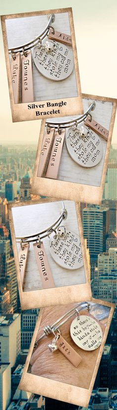 """This hand stamped personalized Mothers bangle bracelet features a sterling silver pendant that will be stamped with EITHER """"There are these boys... they kinda stole my <3... they call me Mom"""" OR """"So there's this boy... he kinda stole my <3... he calls me Mom"""""""