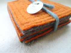 Felted Wool Coasters ORANGE & GRAY Coasters Recycled Mug Rugs Upcycled Coasters by WormeWoole