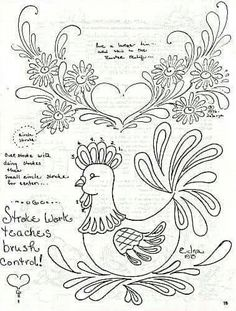 Folk Art Primer - luciana p - Picasa Web Albums Folk Embroidery, Hand Embroidery Patterns, Tole Painting, Fabric Painting, Norwegian Rosemaling, Chicken Art, Coq, Painting Patterns, Colouring Pages