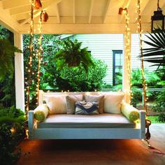 outdoor porch bed swing 57 - iTs Home Ideas Outdoor Porch Bed, Diy Porch, Outdoor Spaces, Outdoor Living, Outdoor Swing Beds, Patio Bed, Veranda Design, Bed Plans, Floor Plans