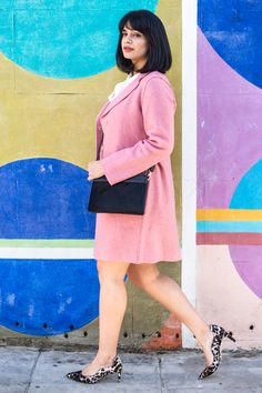 """Supal Desai of Chevrons And Eclairs shows off our Sally Coat in Antique Rose. How would she describe her style? """"Spontaneously classic."""""""