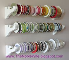 organizing ribbon with towel rack | Email This BlogThis! Share to Twitter Share to Facebook Share to ...