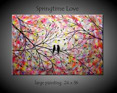 Large Love Birds Painting Tree Painting by jmichaelpaintings, $169.00