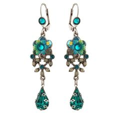 Michal Negrin Earrings with Vintage Elements, Turquoise, Green, Gray Swarovski Crystals and Tear Drops; Victorian Style