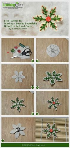 Jewelry Making Tutorial-Make Beaded Snowflake Brooch in Red and Green | PandaHall Beads Jewelry Blog