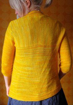 Gorgeous yellow Whisper Cardi. Pattern by Hannah Fettig, knit by Sarastus on Ravelry