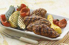 Orange-BBQ Chicken with Grilled Vegetables recipe from Kraft Kitchens