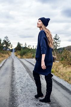 acne studios hat for fall and a river island bag and a over the knee boots on norwegian blogger