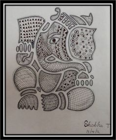 Shobha , is a young caregiver who stays with us to take care of my 84 years old mother. Taking care of an elderly sick person is a difficul. Ganesha Drawing, Ganesha Painting, Ganesha Art, Madhubani Painting, Painting Art, Purple Elephant, Elephant Art, Doodles Zentangles, Zentangle Patterns