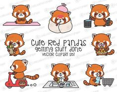 Premium Vector Clipart  Kawaii Red Pandas  Cute Red Pandas