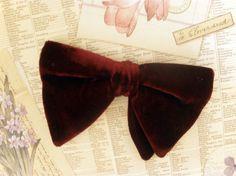 Mens Vintage Red Velvet Bow Tie
