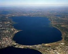 View of Bemidji isthmus and all of Lake Bemidji, looking north.