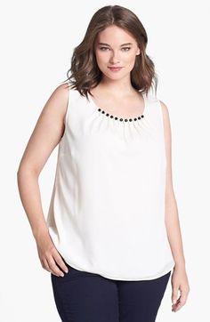 Anne Klein Embellished Sleeveless Blouse (Plus Size)