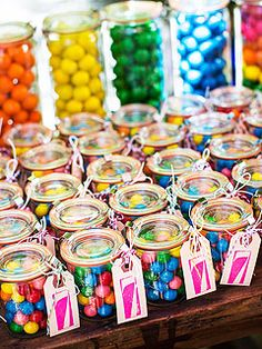 Rainbow gumballs in mason jars with a rubber stamped hang tag! Soleil Moon Frye's Rainbow-Themed Birthday Bash Tips