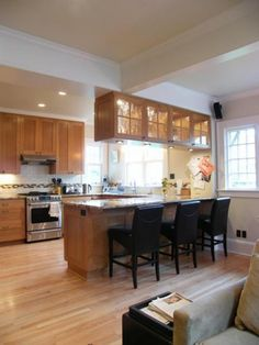 Good idea for updating cabinets over a breakfast bar. This would ...