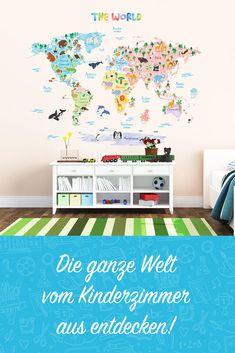 Mit dem selbstklebenden Weltkarten-Wandtattoo die ganze Welt vom Kinderzimmer aus entdecken! #wandgestaltung #kinderzimmer #diy #entdecken