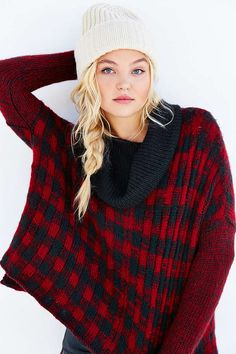 Wooden Ships Buffalo Plaid Sweater Poncho - Urban Outfitters