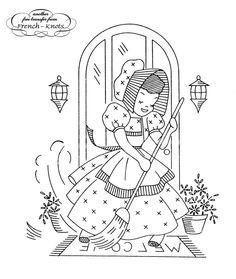 Vintage Embroidery Transfer Patterns | Vintage Sunbonnet Girls Embroidery Transfer Patterns