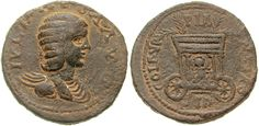 As-Julia Maesa-Sidon AE30 BMC 300 - Astarte riding in a chariot with four branches protruding from roof, on the reverse of a Julia Maesa coin from Sidon